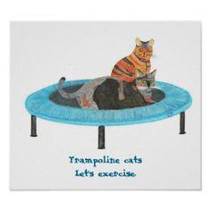 猫 x トランポリン。 #zazzle #ポスター