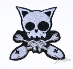 Silver Kitty Crossbones Fish Skeleton Iron On Patch Embroidered $8