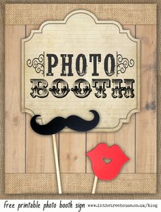 Vintage Western Rustic Free Printable Download Wedding Photo Booth Sign by In the Treehouse