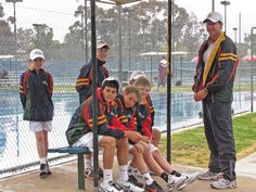 Simon Youl former ATP tour player and current National Academy coach with the boys from the Tasmanian Bruce Cup tennis team.