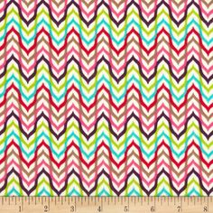 Punch Garden Flannel Mod Chevron Stripes Retro Multi. Designed by Mary Beth Freet for Pink Light design for Robert Kaufman