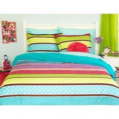 $19.00 full  your zone reversible comforter cover & sham set, pop stripe/teal sachet