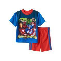 Boys Marvel Comics 2-Piece Pajama Set, Boy's, Size: 10, Multicolor