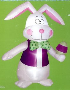 Easter 7' Tall Bunny Airblown Inflatable Rabbit with Bow Tie & Vest by Gemmy. $71.99