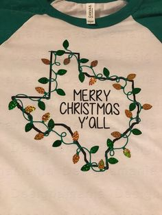 03604567f9f Texas Merry Christmas Y all shirt sparkle Christmas lights GREEN AND GOLD  raglan baseball tee