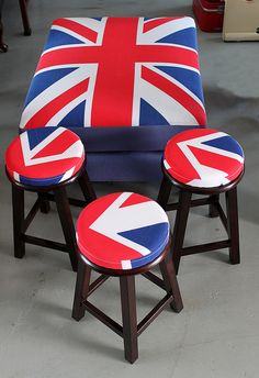 Union Jack Stools If they were squares/rectangles you could  paint then so 4 of them together would make the Union Jack.