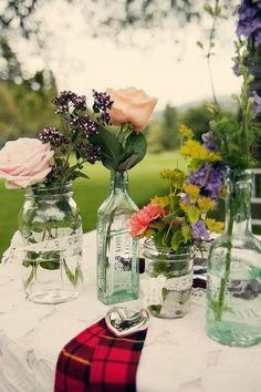 These flower arrangements are great because they are all different but work together.
