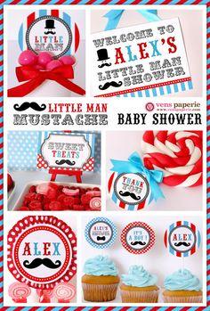 little man mustache bash baby shower !!! by www.venspaperie.com