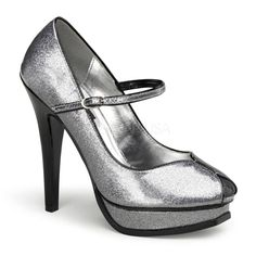 Get your flirt on when you wear these glittery patent heels from Pinup Couture. These sparkly pumps include a tall stiletto heel and a Mary Jane ankle strap across the vamp.