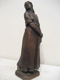 """Louis-Philippe Hébert, """"Évangéline,"""" plâtre/plaster, 13"""". American, Garden Sculpture, Claude, Statue, Plaster, Outdoor Decor, Image, Collection, Canadian Art"""