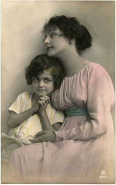Beautiful Vintage French Mother's Day Image! This is an Antique Photo Postcard showing a Mother with her child.