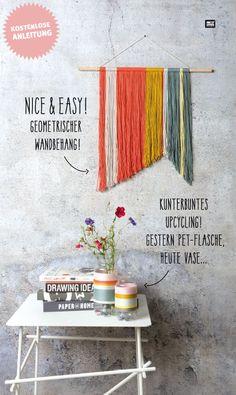Mit wenig Aufwand und Material tolle Deko basteln! Aus einem Holzstab und bunter Wolle könnt ihr diesen schicken Wandbehang basteln. Das geht wirklich super einfach und das Ergebnis kann sich sehen lassen. #anleitung #tutorial #ideas #idee #diy #dekoration