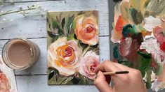 Speed paint of acrylic roses on canvas in a step by step acrylic painting tutorial. Learn simple acrylic techniques on painting roses. Canvas Painting Tutorials, Acrylic Painting Flowers, Simple Acrylic Paintings, Diy Canvas Art, Abstract Flowers, Painting Techniques, Paint Flowers, Flowers On Canvas, How To Paint Roses
