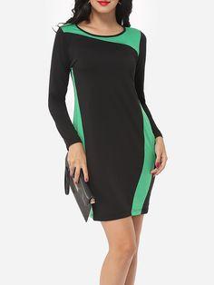 Color Block Exquisite Round Neck Bodycon-dress Only $12.99- fashionme.com…