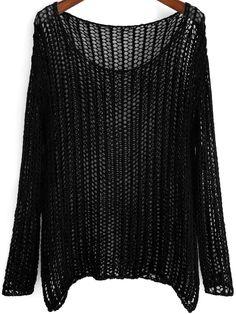 Black Long Sleeve Hollow Loose Knit Sweater 19.00 Свободные Трикотажные  Свитера 29d380f067b7