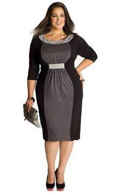 'IGIGI by Yuliya Raquel Plus Size Sophie Colorblock Dress in Black/Grey' $112.00 plus sizes