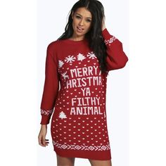 Boohoo Mia Merry Christmas Ya Filthy Animal Jumper Dress ($30) ❤ liked on Polyvore featuring tops, sweaters, red, red sequin sweater, animal sweater, sequin sweater, turtleneck sweater and red turtleneck
