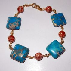 Turquoise and Gold Marbled Bracelet by CloudNineDesignz on Etsy, $32.99