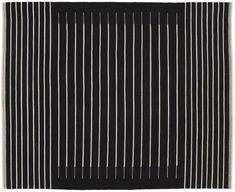 On sale. Shop Black with White Stripe Rug Field of black backgrounds a modern linear weave. Thin white lines stripe a graphic pattern in a soft wool/cotton blend. Flatweave is comfortable underfoot yet stands up to traffic. White Carpet, Patterned Carpet, Bedroom Carpet, Living Room Carpet, Leather Throw Pillows, Wood Magazine, Table Lamp Wood, Leather Lounge, Striped Rug