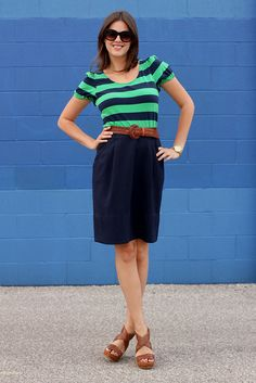 green & navy stripes