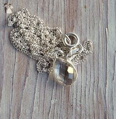 Faceted Clear Quartz Pendant-Bezel Set Solitaire on a Sterling Silver 16-inch Chain-Perfect Bridesmaid Necklace-Meditation Crystal Necklace - Wedding nacklaces (*Amazon Partner-Link)