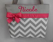 NEW ....CHEVRON  in Gray .. .. PINK Accents  ...   Diaper Bag ... Monogrammed  FReE. $44.99, via Etsy.