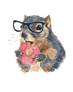 Squirrel Watercolor - 8x10 PRINT, Nerd Squirrel, Donut Watercolour, Hipster Glasses, Nursery Art, Kitchen Art