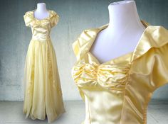 1940s Evening Gown in Yellow Satin and Chiffon Wedding Dress by YellowBeeVintage on Etsy https://www.etsy.com/uk/listing/452843868/1940s-evening-gown-in-yellow-satin-and