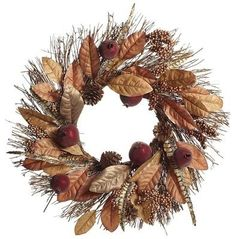 Faux Magnolia Leaf & Pomegranate Fall Wreath - contemporary - outdoor decor - Pier 1 Imports