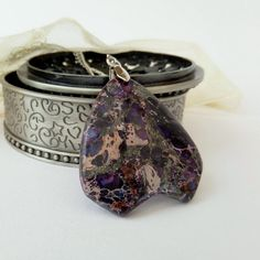 Unique purple jasper pendant necklace by Beadstorm Jewellery