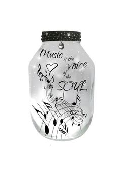 #Music is the voice of the soul, Hand Painted X-LARGE Candle holder Lantern
