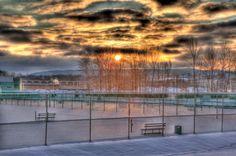 Sunrise over West Campus. Binghamton University.