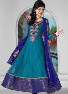 Peacock color designer embrodred anarkali suit 1009