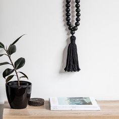 Black Beaded Necklace With Tassel - Large Tribal Feather, Hanging Beads, Dove Grey, Wall Hangings, Tassel Necklace, Tassels, Kitchen, Beautiful, Design