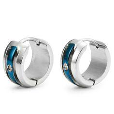 R&B Joyas - Pendientes de hombre, anillos moderno 2 colores & óxidos de circonio, acero inoxidable, color plateado / azul: Amazon.es: Joyería