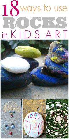 Kids Art with Rocks - 18 Ways to Use Rocks in Kids Art