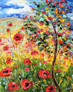 Original Oil Provence Poppies Landscape palette knife painting by Karensfineart
