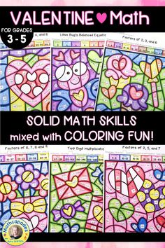 FUN Valentines themed multiplication practice for 3rd and 4th grade math.  Targeted math skills for Valentine's Day color by number activities.