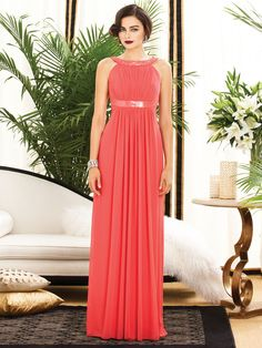 coral halter bridesmaids dress with sequin detail at neck and waist