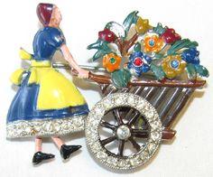Art Deco Rhinestone enamel Dutch Flower Girl Pin