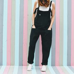 'The Original' Handmade Corduroy Dungarees in Midnight Black by Lucy and Yak