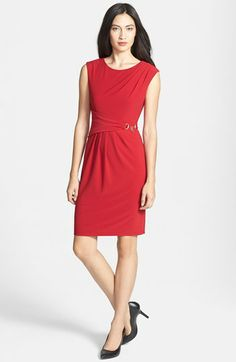 Ellen Tracy Side Gathered Crepe Sheath Dress (Regular & Petite) available at #Nordstrom