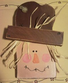 Primitive Country Hanging Wooden Scarecrow by crochetblessings, $7.99