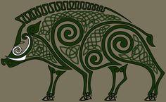 Celtic Pig of Óengus Druid Symbols, Celtic Symbols, Celtic Art, Celtic Tattoos, Viking Tattoos, Elk Silhouette, Larp, Hog Dog, Symbole Viking