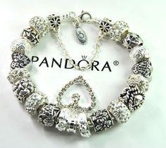 Authentic Pandora Silver charm bracelet with European Charm mom love story wife  #Pandoralobsterbangleclaspclaw #European