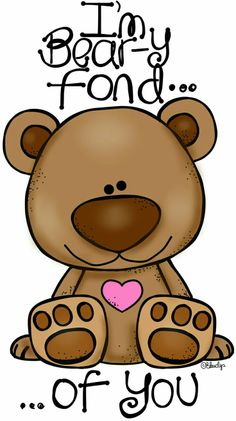 Beary Fond of You! This Clip-Art can be used as a stencil for wafer paper transfers, butter cream transfers, fondant cut outs, painting on to cakes etc and many uses for cupcakes and cookies too. Tatty Teddy, Cute Clipart, Cute Bears, Cute Drawings, Rock Art, Baby Quilts, Painted Rocks, Cute Pictures, Card Making