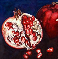 Pomegranate Study Number 2 Watercolor on 180 lb. watercolor paper x inches Pomegranate Pictures, Pomegranate Art, Fruit And Veg, Fruits And Veggies, Still Life Art, Number Two, Botanical Illustration, Watercolor Paper, My Arts