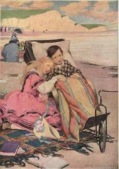 """Paul Dombey and Florence on the Beach at Brighton."" Illustration by Jessie Willcox Smith for 'Dombey and Son' in 'Dicken's Children, Four Drawings by Jessie Willcox Smith,' which appeared in the Christmas issue of Scribner's Monthly Magazine for December 1910."