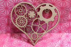 Steampunk -Gear Heart- Laser Cut Chipboard Die