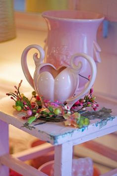Vintage pink pottery for sale at The Side Track Shops in Glendale Kentucky.